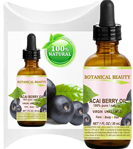 Botanical Beauty ACAI OIL. 100% Pure/ Virgin / Unrefined Cold Pressed Carrier Oil. For Skin, Hair, Lip and Nail Care. (1 Fl. oz. - 30 ml.)