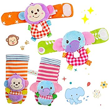 mono y elefante Acefun 4PCS Animal Baby Wrist Rattles y Foot Finder Set Developmental Soft Toys