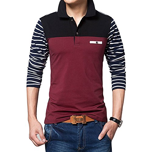 Wishere New Men's Fashion T-shirt Cotton Long-sleeved Polo Shirt