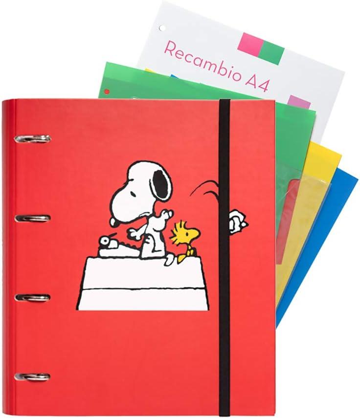 Grupo Erik Editores Snoopy - Carpeblock con 4 anillas, 32 x 27.5 cm