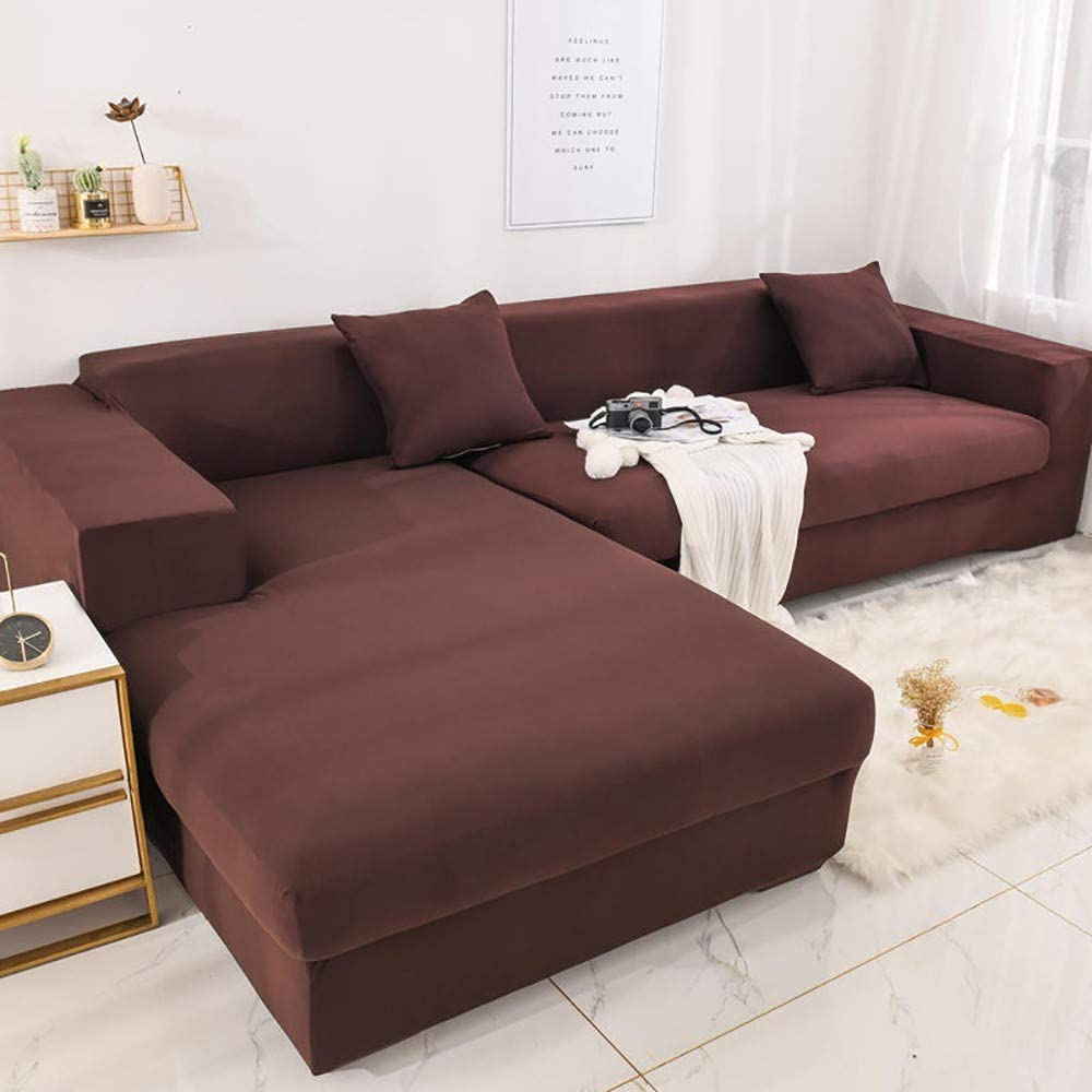 2pcs Sofa Slipcover Elastic Sofa Cover L Shape Stretch Furniture Cover Pet Dog Sectional//Corner Couch Covers L-Type Flexible Sofa Cover Stylish Polyester Home Decor Furniture