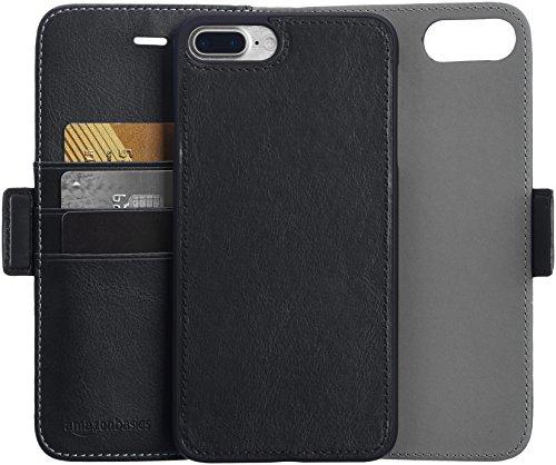 AmazonBasics iPhone 8 Plus / 7 Plus PU Leather Wallet Detachable Case, Black