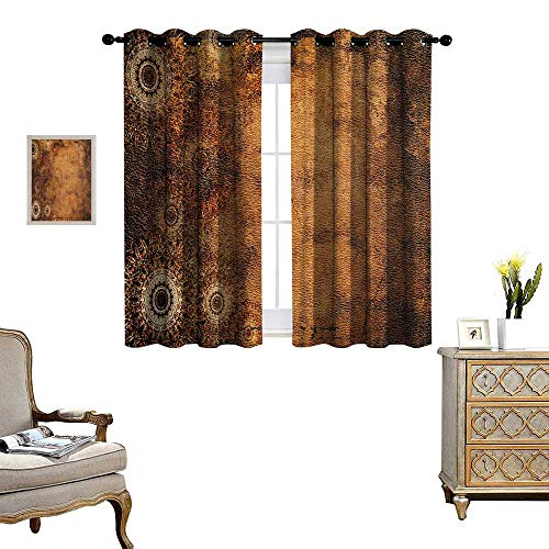 Tan Room Darkening Wide Curtains Aged Old Texture Print Artistic Floral Motifs Vintage Upholstery Concept Decor Curtains by W55 x L72 Brown Pale Brown Tan (Upholstery Ashton)