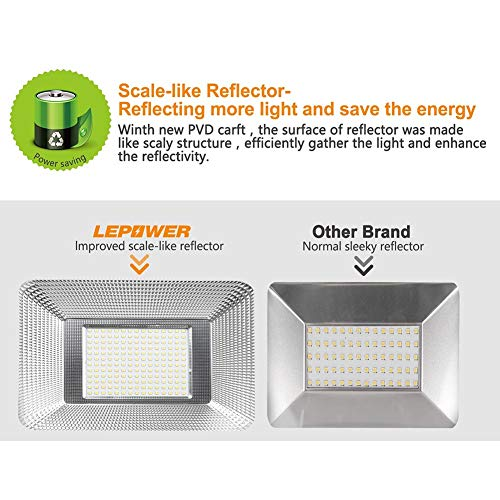 LEPOWER New Craft 2 Pack 150W LED Flood Light, 11000lm Super Bright Work Lights with Plug, 6500K White Light, IP66 Waterproof Outdoor Floodlights Fixtures for Garage, Playground, Basketball Court,Yard by LEPOWER (Image #2)