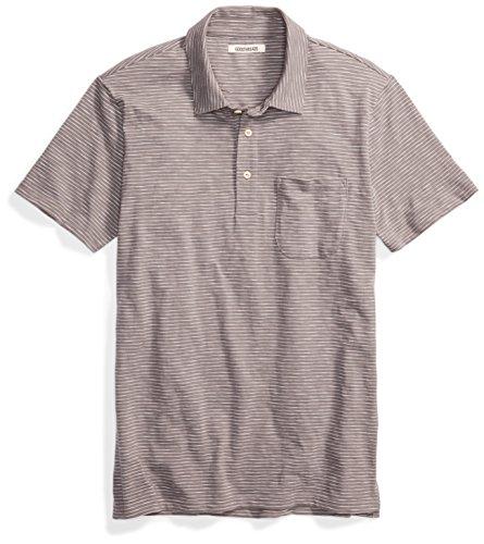 Goodthreads Men's Short-Sleeve Striped Slub Polo, Castle Rock/Grey/White Stripe, Large by Goodthreads