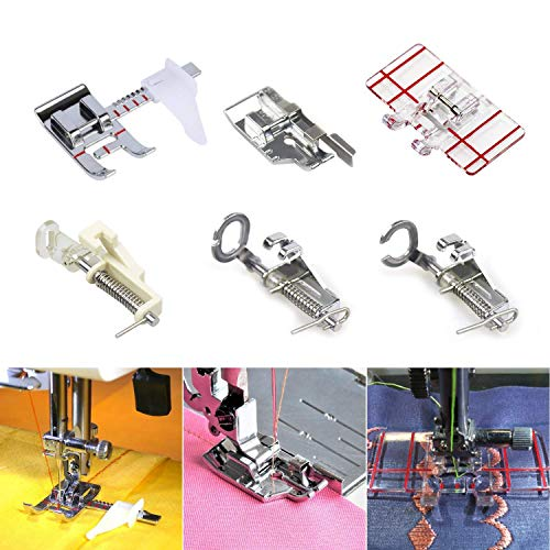 (SODIAL Presser Feet Set with Manual Sewing Machine Foot Include Adjustable Guide/1/4 Inch Border Guide/Embroidery Presser Foot Kit for Singer,Brother and Other Low Shank Sewing Machines)