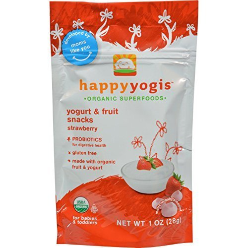 HAPPYMETLS Organic Yogurt Snacks for Babies & Toddlers, Strawberry, 1-Ounce Pouch ( Value Bulk Multi-pack) by HAPPYBABY