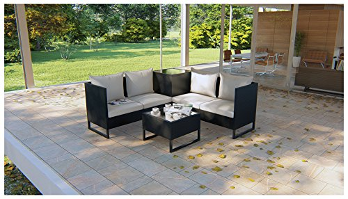 BeAllure Outdoor Furniture Waterproof Modern Rattan Wicker Table Sofa 4PC Set