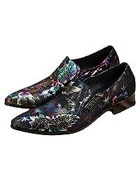 2 Color US Size 5-12 New Floral Leather Mens Slip On Formal Dress Loafer Shoes