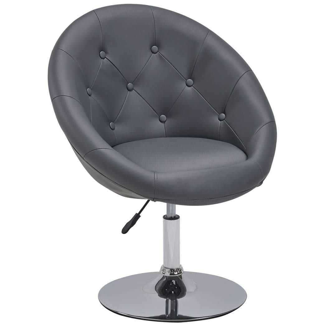 Duhome Elegant Contemporary Vanity Accent Lounge Chair Tufted Round Back Adjustable Swivel Cocktail Chair Synthetic Leather WY-509A (Grey)
