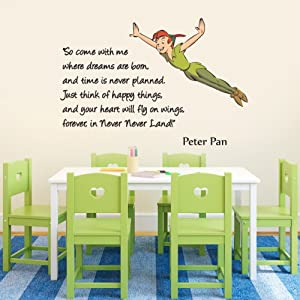 Full Colour Peter Pan So Come With Me Nursery Children\'s Wall ...