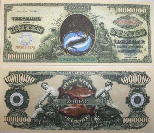 Set of Dollar 10 Bills-Pisces Million Dollar of Bill by Novelties Wholesale 815015