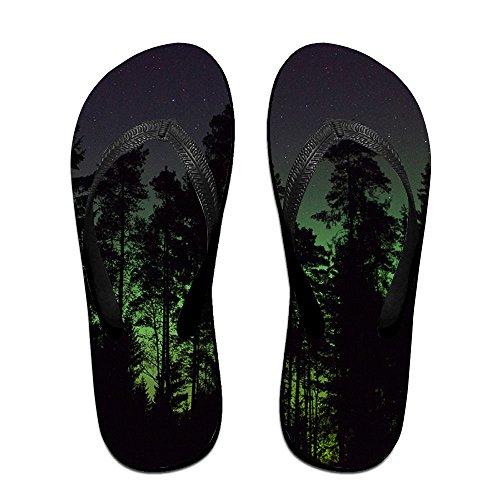 Unisex Dark Forest Summer Strap Flip Flops Beach Slippers Platforms Sandal For Men Women Black njF5yx9
