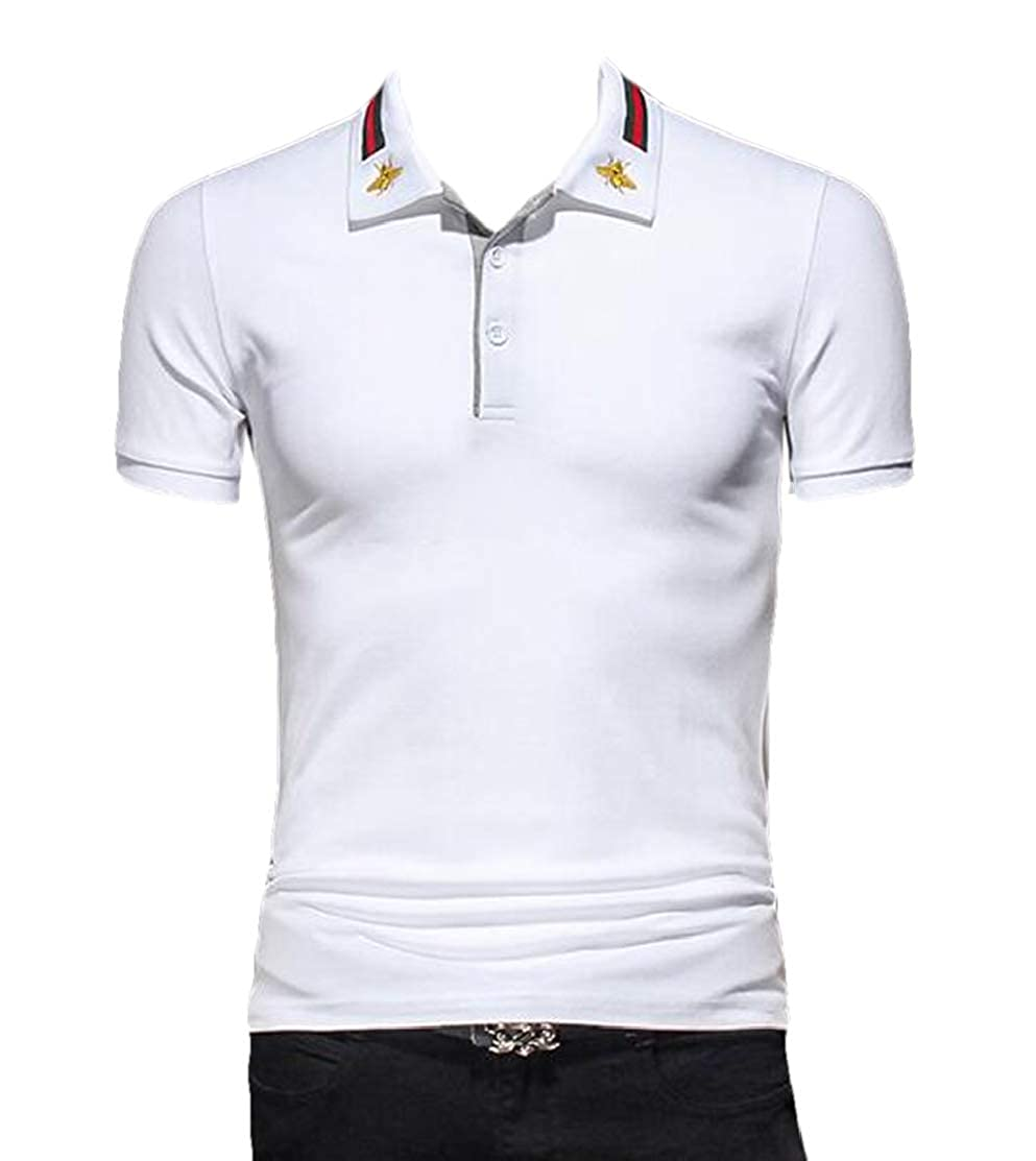Domple Men Short Sleeve Button Down Slim Fit Embroidery Hipster Polo Shirt
