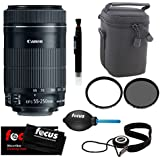 Canon EF-S 55-250mm STM f/4.0-5.6 IS Telephoto Zoom Lens w/ 58mm UV & CP Filters & Lens Pouch Bundle