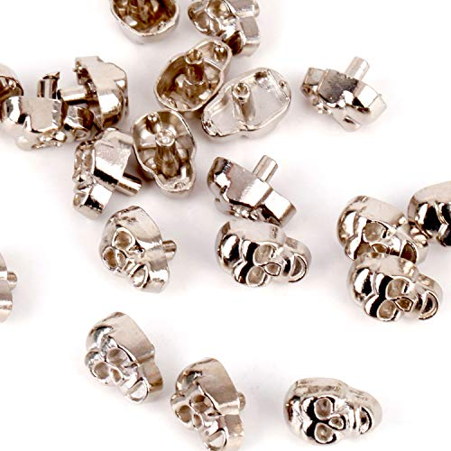RUBYCA Skull Head Rapid Rivets and Studs, Metal Double Cap Compression Rivets, Speedy Rivets for Fabric Leather Craft Crafting, Silver Color (50 Sets) (Stud Threaded 50)