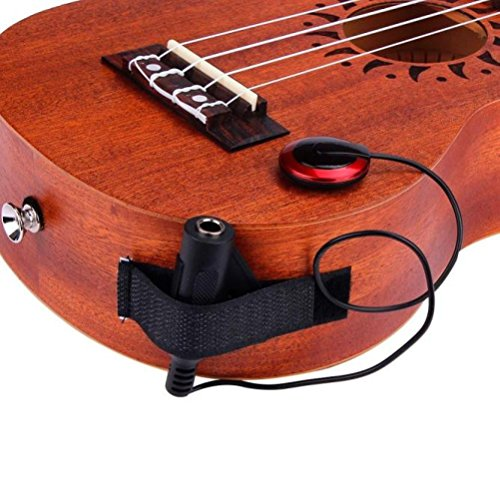 Sixpi Acoustic Guitar Pickup Mini Piezo Contact Microphone Transducer Easily AMP UP for Ukulele Violin Mandolin Banjo Cello Black