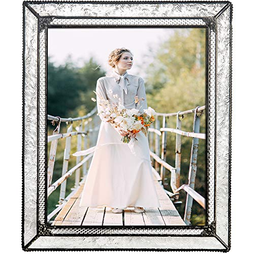 - J Devlin Glass Art Pic 380-81HV Vintage Glass Picture Frame Tabletop 8 x 10 Photo Family Wedding