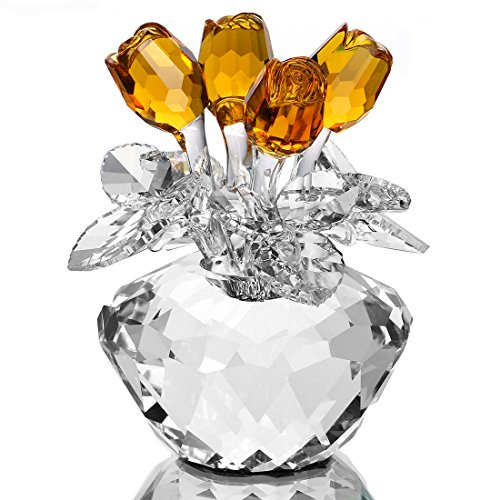 H&D Spring Bouquet Crystal Glass Flowers Yellow Rose Figurine Ornament Gift-Boxed ()