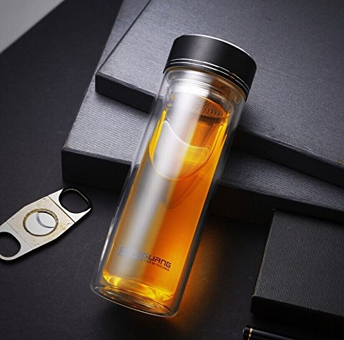 Black Bpa-Free Double Wall Glass Water Bottle Travel Mug With Tea Infuser 14Oz by Travel Mugs