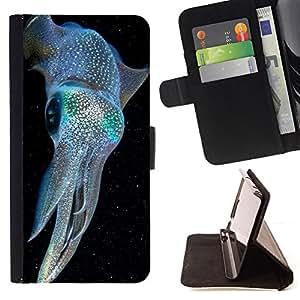 - kraken iridescent blue electric diving - - Prima caja de la PU billetera de cuero con ranuras para tarjetas, efectivo desmontable correa para l Funny HouseFOR Samsung Galaxy Core Prime