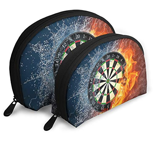 Dart Board Target Ice Fire 2pcs Trendy Portable Bags Clutch Pouch- Half Moon Cosmetic Beauty Bag for Women,Travel Handy Organizer Pouch ()
