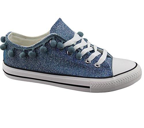 Womens Sneakers Flat Pumps Ladies Glittered Summer Plimsole Canvas Shoes Blue 0X51K4