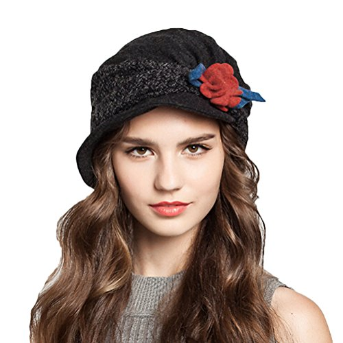 "Maitoseâ""¢ Women's Decorative Flowers Wool Beret Black"