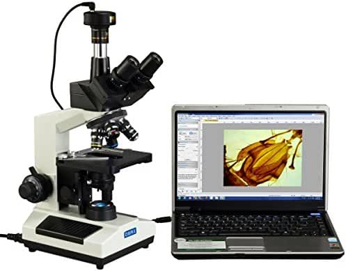 OMAX 40X-2500X Full Size Lab Digital Trinocular Compound LED Microscope with 10MP USB Camera and 3D Mechanical Stage