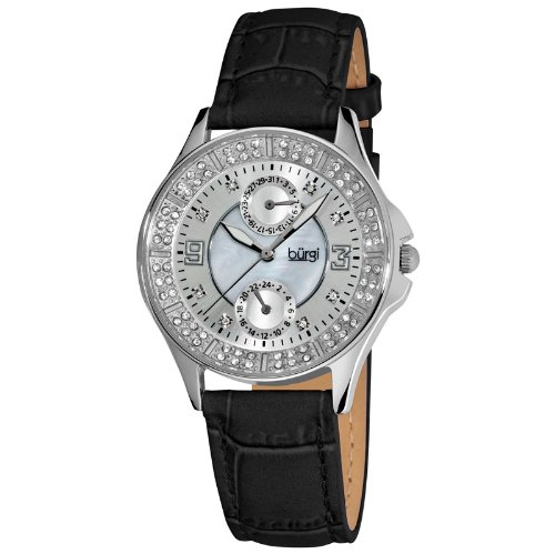 Burgi Ladies Diamond Classic Steel GMT Date Strap Quartz Watch - Silver Sunray with MOP Center - BUR044BK