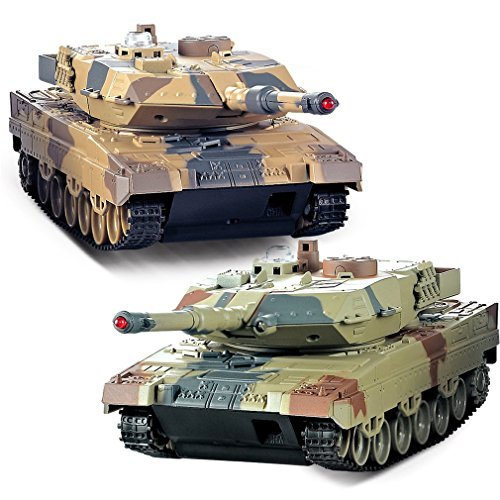 RPRO 2 Set Remote Control 2.4G Infrared Battle Tank Camouflage Military Vehicle ()