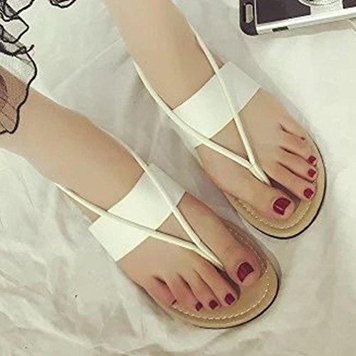Hunpta Flache Schuhe Mode Böhmen Freizeit Dame Sandalen Peep-Toe Outdoor Damenschuhe Weiß