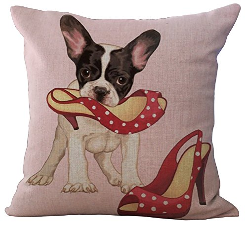 (RS-pthrA2 Linen Blend Lovely Puppy Pattern Cushion Cover Cotton Pillowslip Square Decorative Throw Pillow Case 18 X 18'')