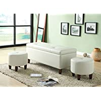 ACME Ibrahim Ivory Faux Leather Storage Bench with 2 Ottomans