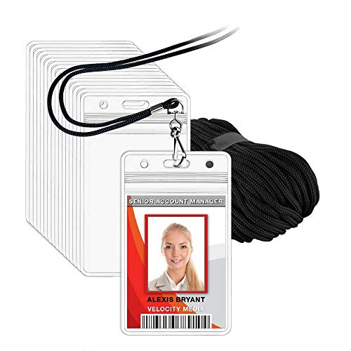 Lanyards 12 - MIFFLIN Lanyard with Vertical ID Holder (Satin Black Non-Breakaway Cord, 3.5x2.25 inch Card Holder, 12 Pack)