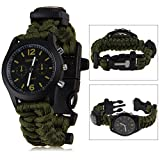 Multifunction Outdoor Camping 5in1 Travel Kit Watch With Survival Flint Fire Starter Paracord Bracelet Compass Rescue Whistle Rope (Army Green)