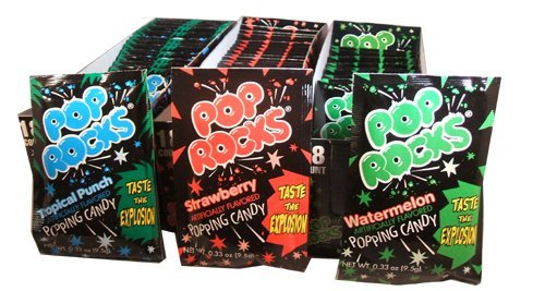 Pop Rocks Combo Pack 96 Packs, 48 Strawberry, 24 Watermelon and 24 Tropical Punch