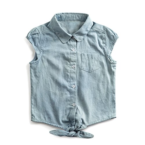 Firengato Girl's Cotton Casual Denim Button-up Shirt,2-8 Years (6 Years) Button Up Shirt Jeans