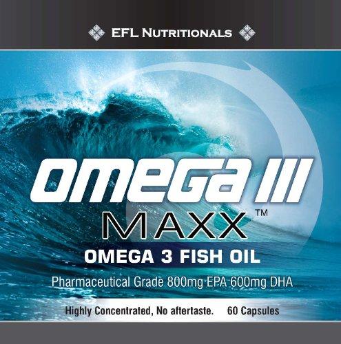 OMEGA III Maxx - Omega 3 Huile de poisson pharmaceutique de qualité. Récolté dans les eaux norvégiennes, les anchois sauvages capturés et les sardines. 1500mg (800mg EPA, DHA 600mg)