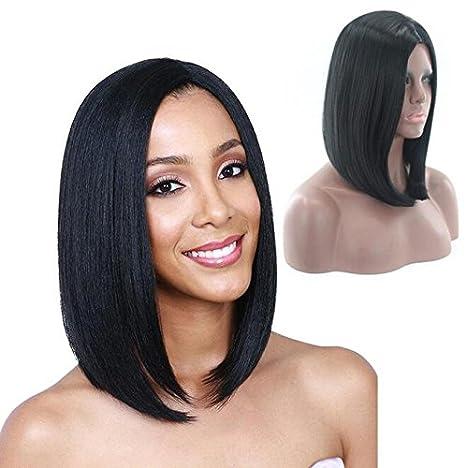 WANG Black Wigs Short Straight Hair Charming Natural And Healthy Real Human Hair
