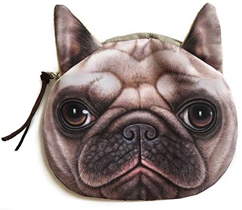 - Realistic Shar Pei Dog Face Coin Purse | Cute Pug Head Zipper Closure Wallet