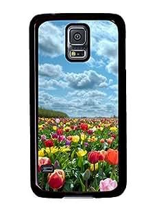 Beautiful Tulips Garden DIY Hard Shell Black Samsung Galaxy S5 I9600 Case Perfect By Custom Service