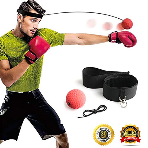 Gdaytao Boxing Reflex Ball, Boxing Equipment with Headband, 2 Training Speed Levels, Great Fight Trainer on String, Perfect for Improving Speed Reactions, Agility, Punching Speed Hand Eye Coordination