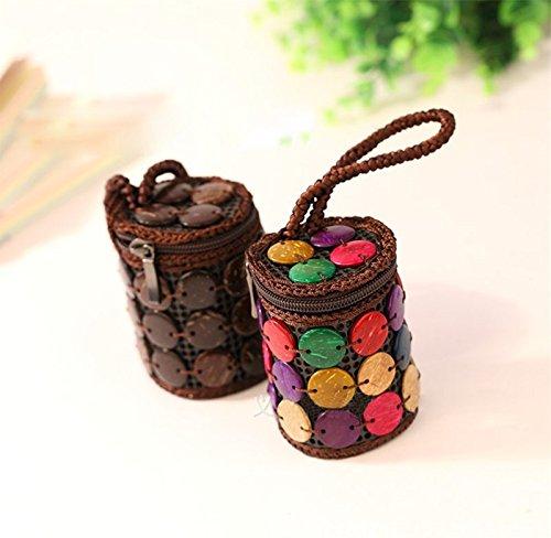 Coco LAAT Coquille Style Brown Créatif Monnaie Porte Noix Main Fait Femmes Sac Rétro de de Nationale wBr4YBqx