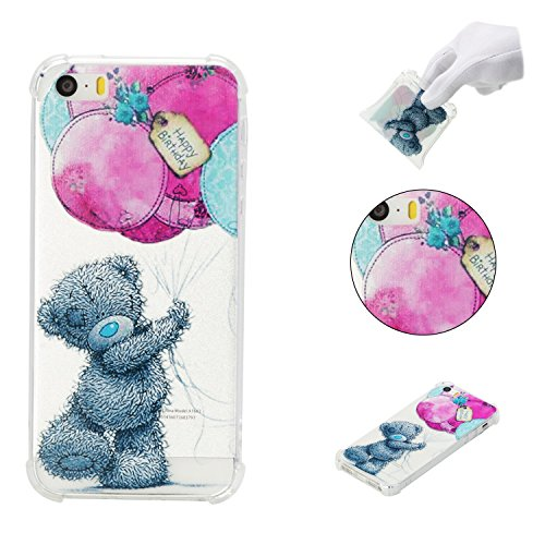 iPhone 5SE Case,iPhone 5S Case,AMYM Amusing Whimsical Painted Design Transparent Shockproof TPU Soft Case Rubber Silicone Cover for iPhone 5SE/5S/5C/5 (Bear)