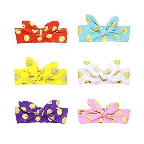 BiBang® Baby Girls Toddler Bow Headbands Turban Knot Rabbit Hairband Headwrap Headwear (Pack of 6) (type one)