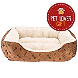 Rectangle Pet Bed with Dog Paw Printing (22