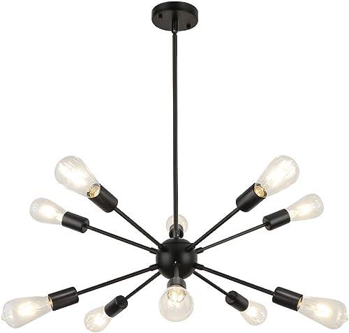 WBinDX Modern 10 Lights Sputnik Chandelier Light Fixture Black Industrial Vintage Ceiling Lighting for Bedroom Living Room Kitchen