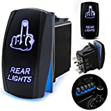 5 pin power window rocker switch - FABOOD F Waterproof 5 Pin REAR LIGHTS Rocker Switch Laser Finger SPST ON/OFF Two LED Backlit Blue Light 20A 12V For Auto Automotive Motorcycle Truck Boat Marine Off-Road Replace Kit (with Jumper Wire)