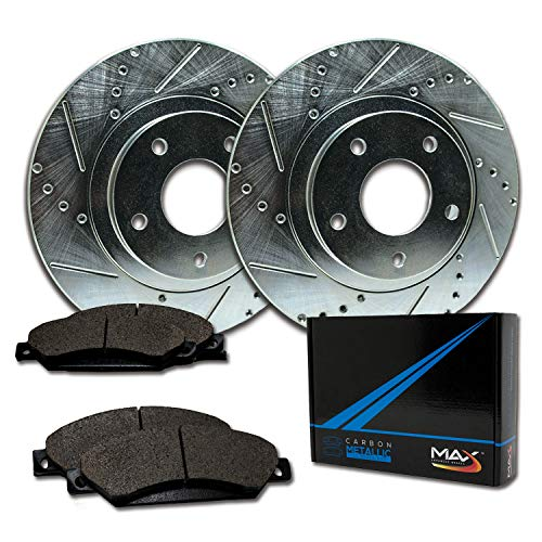 Max Brakes Rear Performance Brake Kit [ Silver Zinc Slotted Drilled Rotors + Metallic Pads ] TA083012 | Fits: 2006 06 Chrysler Crossfire; Non Models With Supercharged - Supercharged Crossfire Chrysler